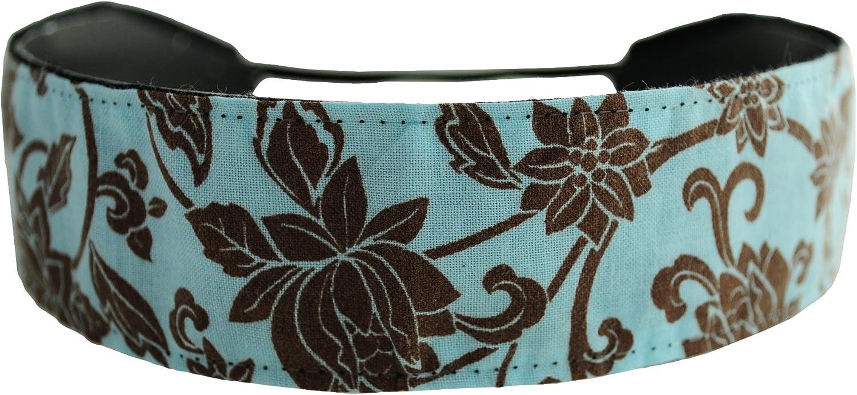 Skinny Headband, Hot Cocoa Flower Garden on Light Blue, Soft Headband