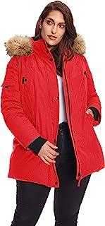 Women's Plus Vegan Down Mid Length Parka Jacket with Faux Fur Hood