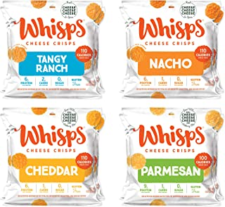 Whisps Tangy Ranch, Nacho, Cheddar, & Parmesan Cheese Crisps Variety Pack | Back to School Snack, Gluten Free, Keto Snack,...