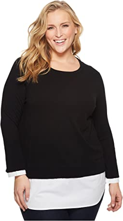 Vince Camuto Specialty Size - Plus Size Long Sleeve Mix Media Sweater with Cotton Poplin