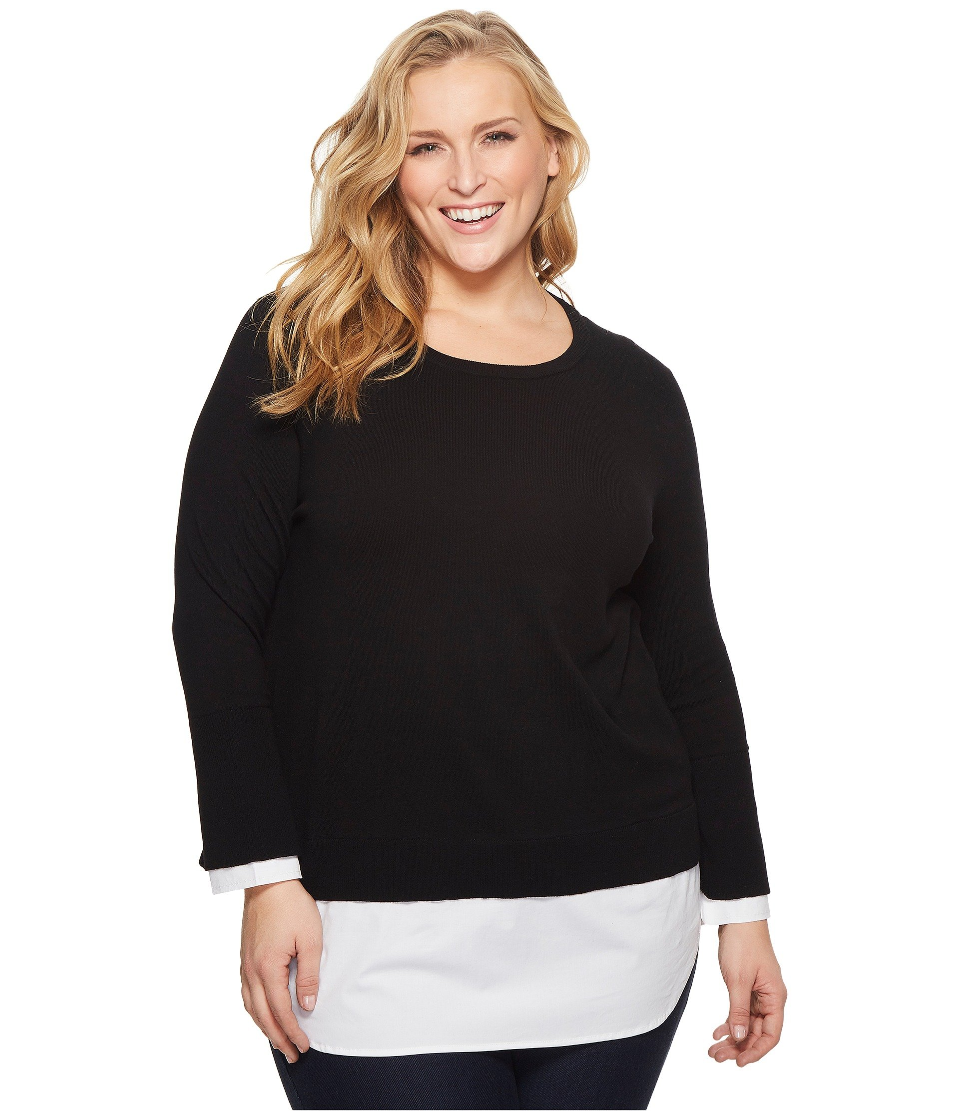 Saco para Mujer Vince Camuto Specialty Size Plus Size Long Sleeve Mix Media Sweater with Cotton Poplin  + Vince Camuto en VeoyCompro.net