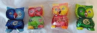 Worldstock Fair Trade Handmade Hand Carved Set of 4 Owl Bird Hand Made in Indonesia 2 1/2