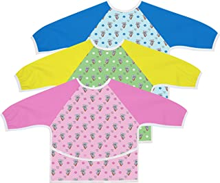 Australian Designed Sleeved Baby Bib with Pocket 6-24 months. Waterproof: Full Coverage for Highchair Feeding, Arts and Cr...