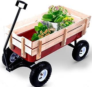L-PH 330LB Wheel Rolling Cart Children Garden Outdoor Pulling Railing Red Terrain Wagon Wood