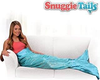 Snuggie Tails Mermaid Blanket- Comfy, Cozy, Super Soft, Warm, All Season, Wearable Blanket for Teens & Adults, As Seen on TV (Aqua Glitter)