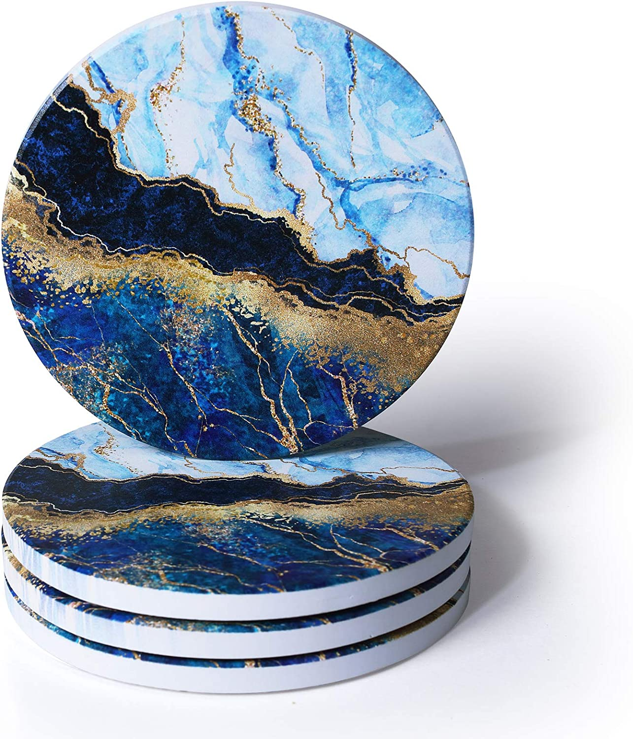 RoomTalks Turquoise and Gold Marble Coasters for Drinks Absorbent 4PCS Modern Abstract Ceramic Coaster Set Cork Back Glitter Rock Stone Coasters for Wooden / Coffee Table (Turquoise, 4 Pieces)