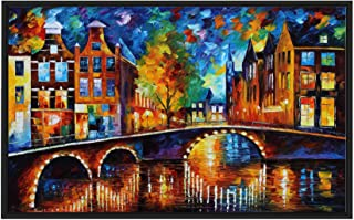 Picture Perfect International The Bridges of Amsterdam ' by Leonid Afremov Print on Canvas Colorful Art, 21.5