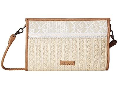 Sakroots Roma Mini Straw Crossbody (White Tribal Beauti) Cross Body Handbags