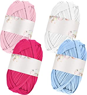 4 Pieces DIY Hand-Knit Woven Yarn T-Shirt Yarn Basket Braided DIY Bag Blanket Cushion Crocheting Projects, About 100 g of ...