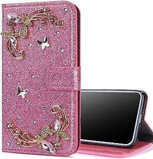 Nadoli Bling fodral till Huawei P Smart 2021, glitter diamant plånbok fodral med ställ fjäril blomma flip läderfodral till...