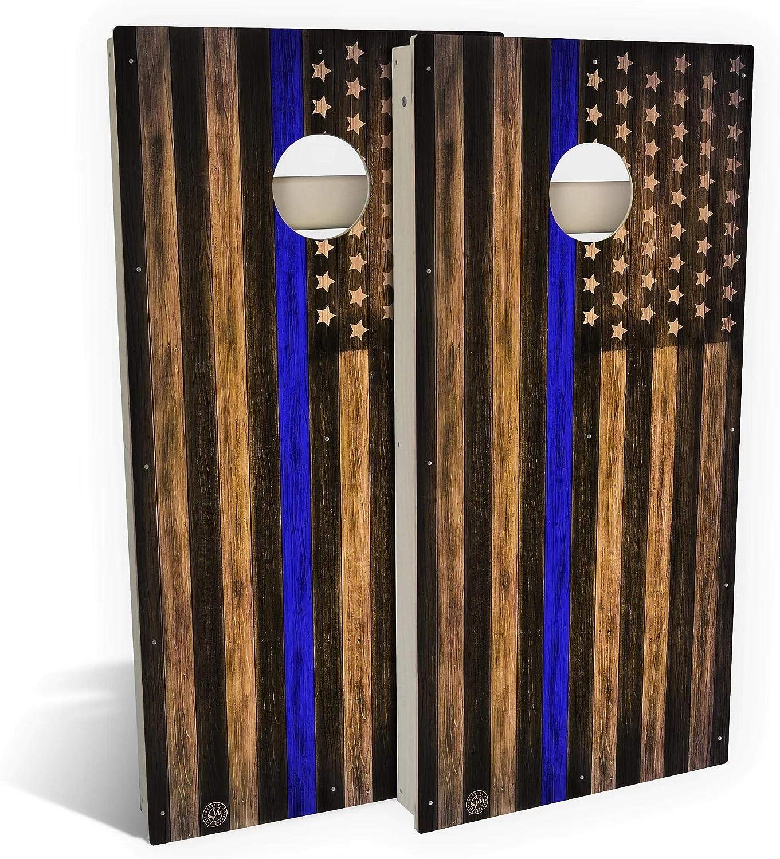 Skip's Garage Max 60% OFF Charred Police USA Thin S Branded goods Blue Line Cornhole Board