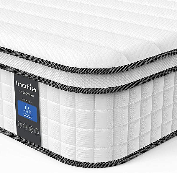 Full Mattress Inofia Responsive Memory Foam Mattress Hybrid Innerspring Mattress In A Box Sleep Cooler With More Pressure Relief Support CertiPUR US Certified 10 Inch Full Size