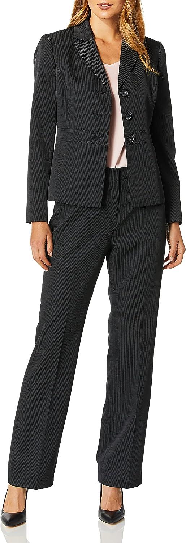 Le Suit Women's 3 Button Peak Lapel Mini Pinstripe Pant Suit