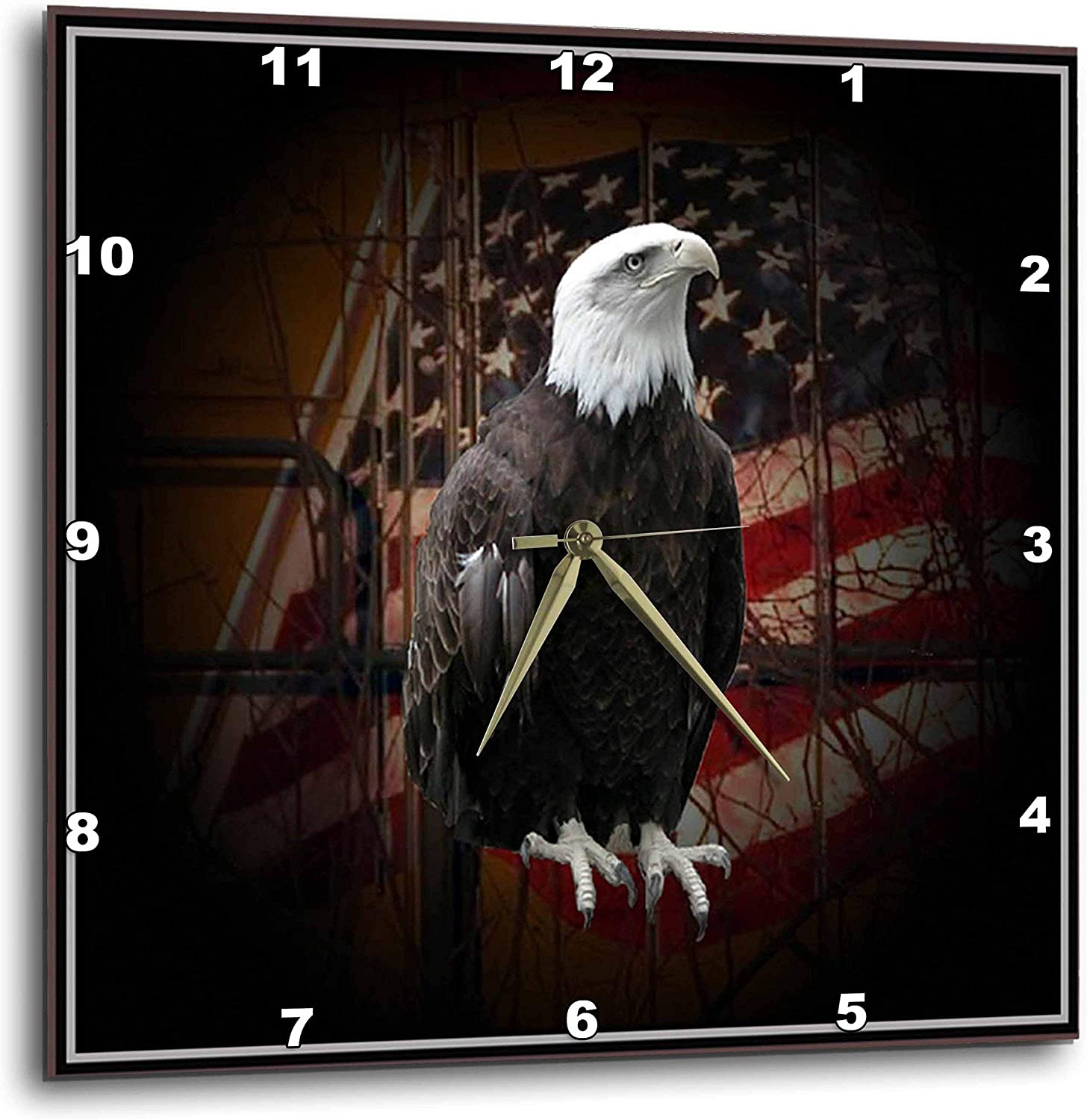 3dpink DPP_11602_3 Bald Eagle with American Flag Wall Clock, 15 by 15-Inch