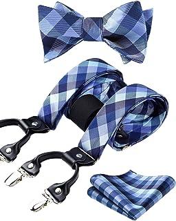 HISDERN Bretelle da uomo e papillon fazzoletto eleganti con 6 clips Regolabile di e Elastica Forma a Y plaid set bretelle