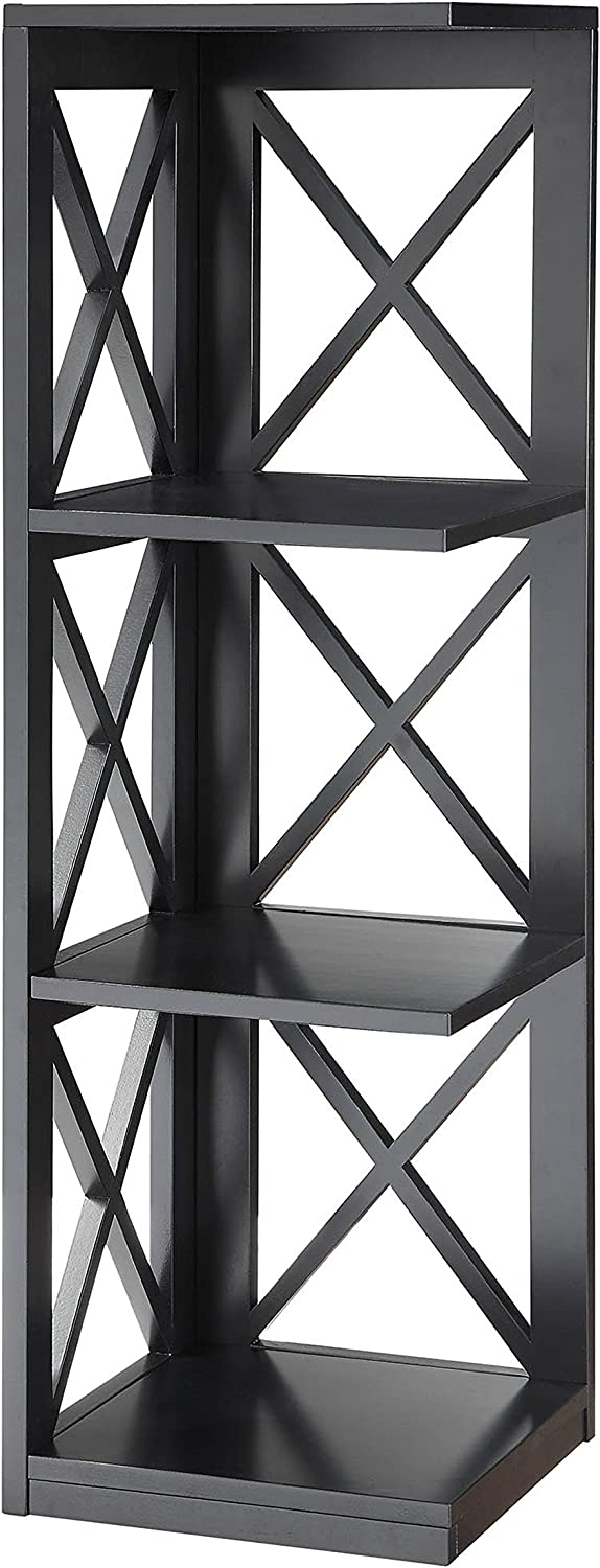 Convenience Concepts Oxford 3-Tier Corner Bookcase, Black