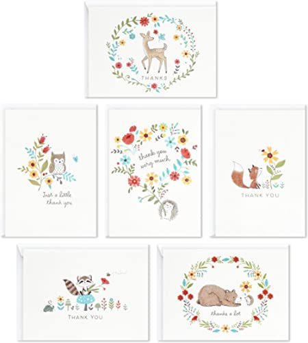 Hallmark Baby Shower Thank You Cards Assortment, Woodland Animals (48 Cards with Envelopes for Baby Boy or Baby Girl)...