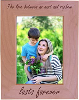 CustomGiftsNow The Love Between an Aunt and Nephew Lasts Forever - Wood Picture Frame - Fits 5x7 Inch Picture (Vertical)