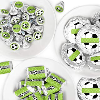 Big Dot of Happiness Goaaal - Soccer - Mini Candy Bar Wrappers, Round Candy Stickers and Circle Stickers - Baby Shower or Birthday Party Candy Favor Sticker Kit - 304 Pieces