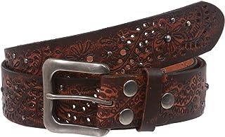 "1 1/2"" Snap On Embossed Vintage Cowhide Full Grain Leather Floral Rivet Perforated Casual Belt"