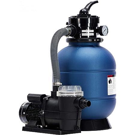 Arebos Filtre à sable avec pompe | 400 W | 10200 l-h | Volume du réservoir jusqu'à 20 kg de sable | Bleu