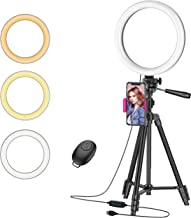 """$23 » 10"""" Ring Light with 50"""" Tripod Stand and Phone Holder for Live Stream/Makeup, Desktop LED Camera Beauty Ringlight for YouT..."""