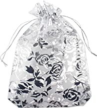 QIANHAILIZZ 5 x 7 Inch 100 Heart Organza Jewelry Gift Pouch Candy Pouch Flower Drawstring Wedding Favor Bags (White White Flower)