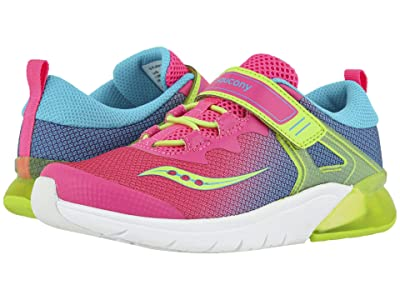 Saucony Kids S-Flash Glow (Little Kid) (Pink Multi Textile/Mesh) Girls Shoes