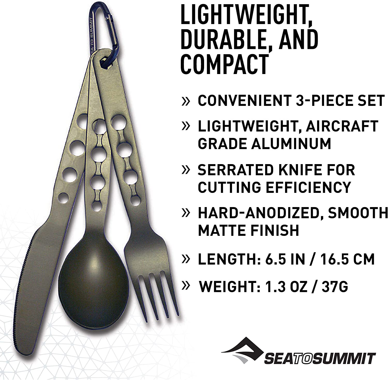 Sea to Summit Alpha Set - Juego de 3 cubiertos para camping (aluminio)