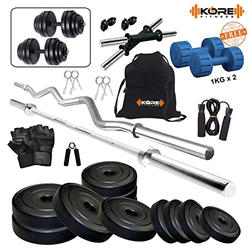 Kore 20 Kg (PVC/Rubber) Combo Home Gym Kit with Gym Accessories