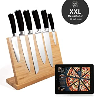 Dolce Mare Bloque de Cuchillos magnéticos imán Extra Fuerte - Tabla de Cuchillos XXL para Sus Cuchillos o Cubiertos de Cocina - Bloque de Cuchillos de bambú sin Cuchillos
