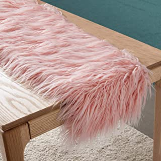 Faux Fur Table Runner Decorative Mongolian Fur Table Flag Modern Dining Fabric Bohemian Plush Table Bunting for Coffee Table Living Room Home Decor
