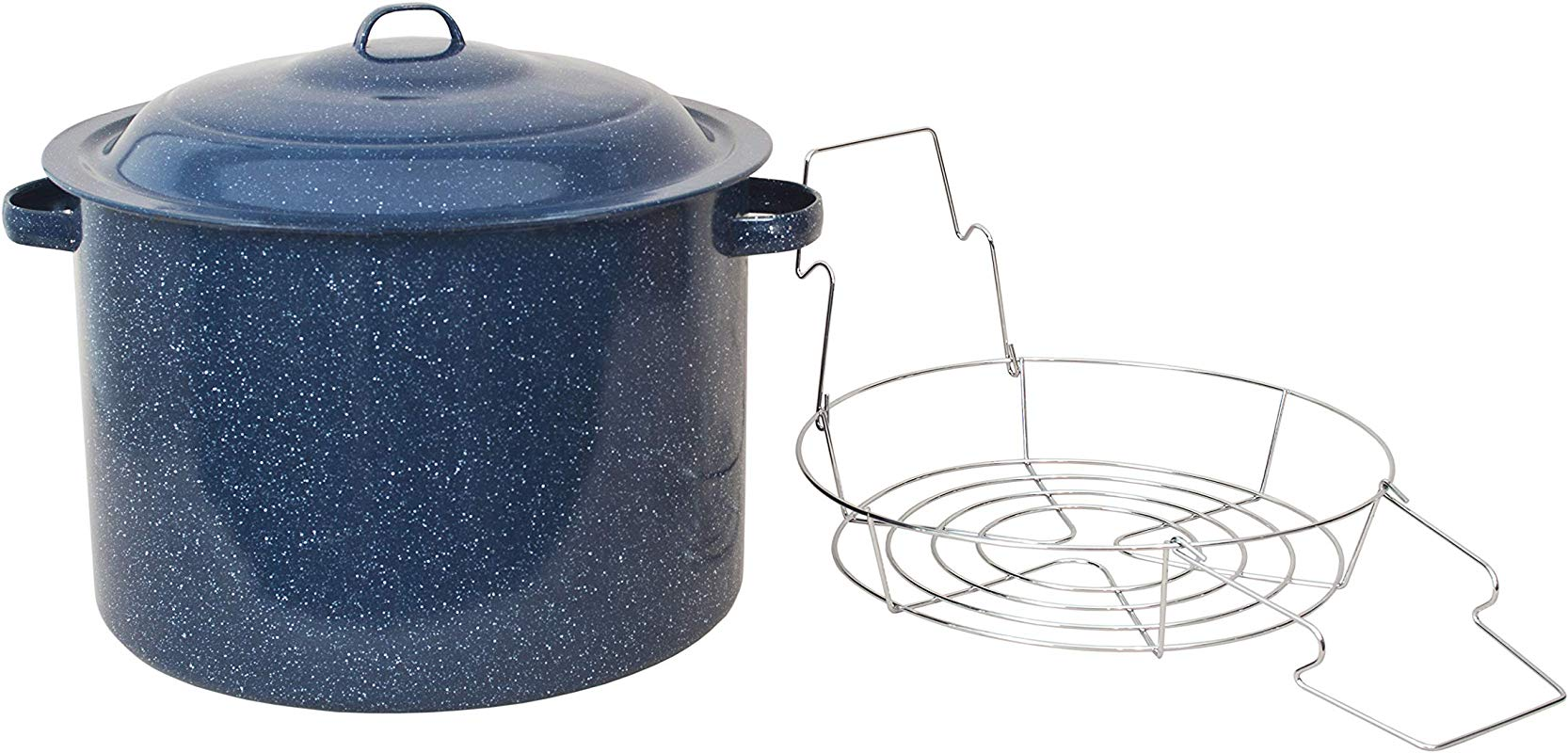 Granite Ware High Capacity Enamel On Steel Water Bath Canner With Chrome Jar Rack Blue