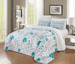 GrandLinen 3-Piece Fine Printed Oversize (100 X 95) Quilt Set Reversible Bedspread Coverlet Queen Size Bed Cover (Turquoise Blue, Grey, Floral, Vine)