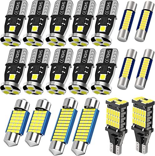 new arrival Serundo Auto 194 Led Bulbs 31mm DE3175 popular 42mm 578 29mm 6614F Led Bulbs 921 T15 Led Bulbs Kits Fit outlet online sale For U.S.A and Japanese Map Dome Vanity Mirror License Plate backup Lights (20pcs LED bulbs total) outlet sale