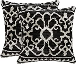 "DECOMALL Floral Farmhouse Throw Floor Pillow Cover for Bedroom Living Room Sofa Couch Mina Collection Pillow Cover 23"" x 23"", Black, Pack of 2"