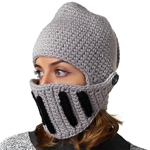 Benmashun Hat Unisex Knitted Cap Roman Knight Helmet Visor Beanie 347dd5b689b