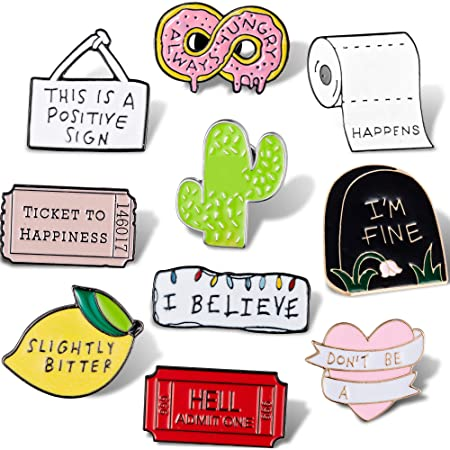 WILLBOND 10 Piezas Pin de Broche de Letra de Esmalte Lindo Conjunto de Pines de Esmalte de Dibujos Animados Insignias de Pin de Esmalte de Refranes para Manualidades Accesorios de Ropa