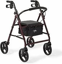 Medline Standard Adult Steel Folding Rollator Walker Aid with 8 Inch Wheels, Red