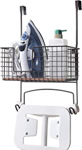 SunnyPoint Metal Wall Mount/Over The Door Ironing Board Holder with Large Storage Basket (ORB, 12