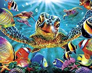 TUMOVO DIY Paint by Numbers for Adults Beginner, Colorful Sea Turtle Paint by Numbers Kit Ocean Animal Painting by Numbers...