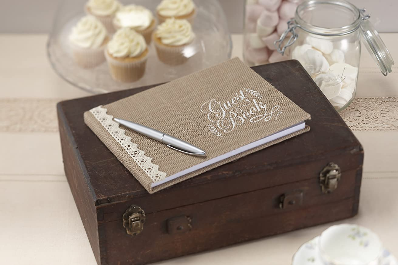 Ginger Ray AF-630 Hessian and Lace Trimmed Burlap Wedding Guest Book-Vintage Affair (, 1, Brown