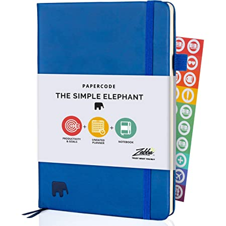 Simple Elephant Daily Planner 2021-2022 - (Undated) Weekly and Monthly Planner & Notebook - Productivity Planner for Gratitude and Focus - Journal & Agenda (Blue)