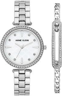Silver-Tone Watch and Bracelet Set