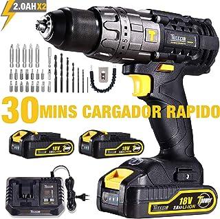 Taladro Atornillador, TECCPO Taladro con Percusión(60Nm), 2×2.0Ah Baterías 18V, 30min Cargador Rapido, 21+3 Ajuste de Par, 2 Velocidades, 35 Accesorios-TDHD01P