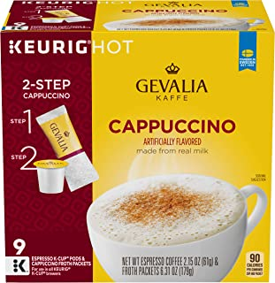 Gevalia Cappuccino Keurig K Cup Pods with Froth Packets (36 Count, 4 Boxes of 9)