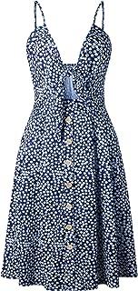 7TECH Sexy Halter Button Halter Bow Dress, Navy Blue