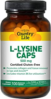 Country Life L-lysine 500 Mg with b-6, 100-Count