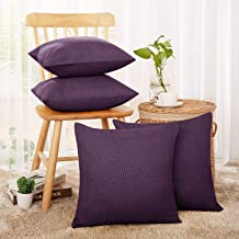 Deconovo Throw Pillow Covers with Invisible Zipper Faux Linen Look Decorative Pillowcases for Sofa 16 x 16 Inch Purple Set...