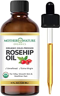 Organic Rosehip Seed Oil (4 oz / 120 mL) 100% Pure Cold Pressed, USDA Certified. Reduce Acne Scars. All Natural Anti-Aging...